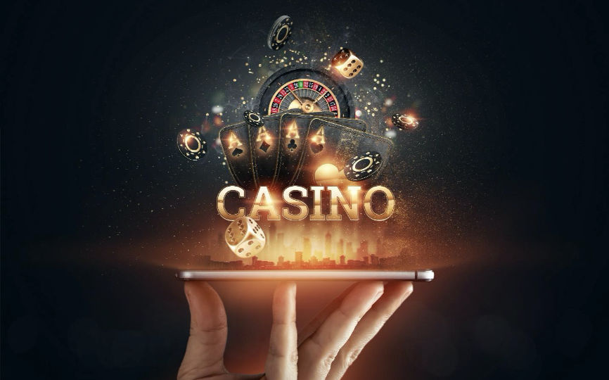 online casino image popping out of mobile device